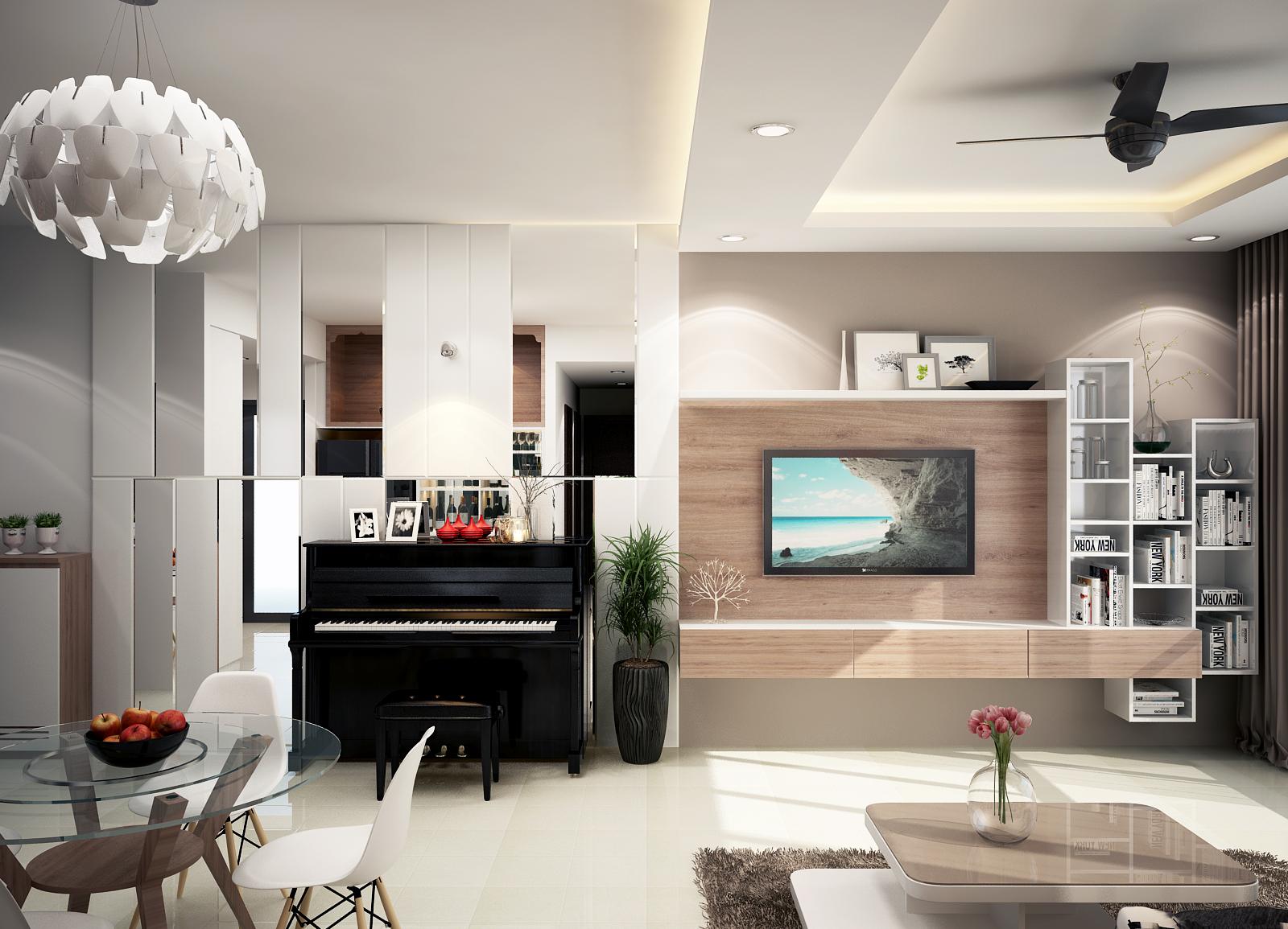 noi that phong khach 08 - Thiết kế nội thất cho căn hộ chung cư nhỏ nhắn, tiện lợi